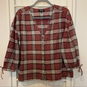 Madewell Red and Gray Peasant Top